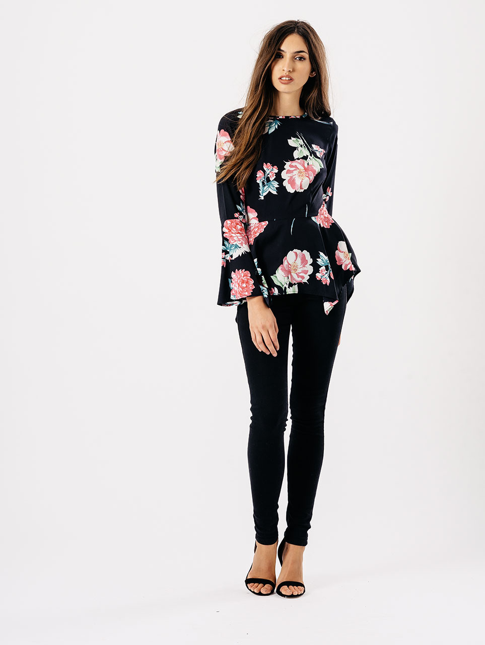 Black Rose Print Asymmetric Hem Flare Sleeve Top