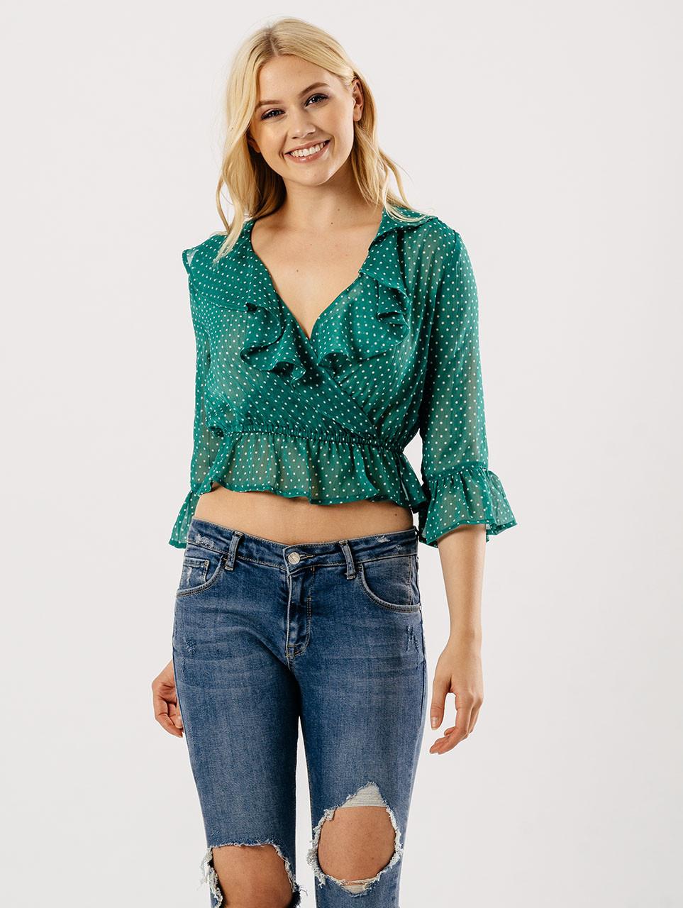 Green Ruffle Polka Dot Wrap Crop Blouse