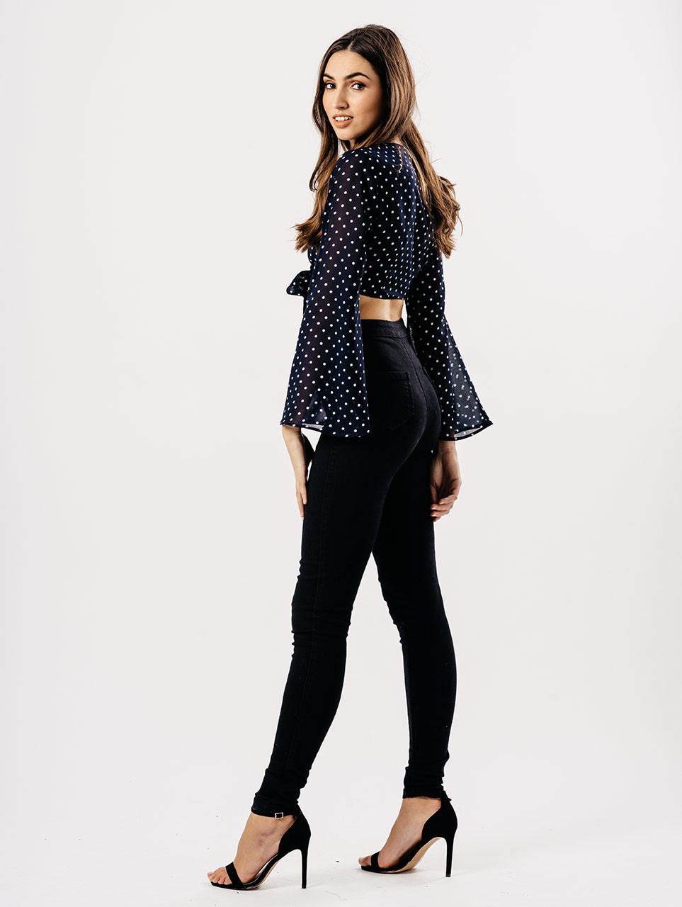 Navy Polka Dot Cropped Tie Front Blouse