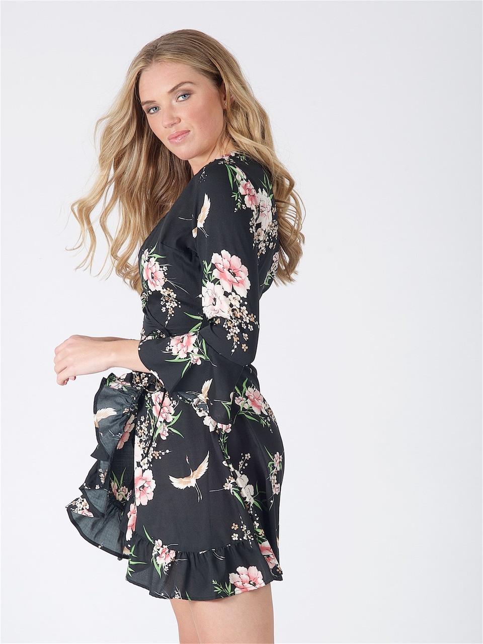 Black Floral Tie Detail Wrap Dress