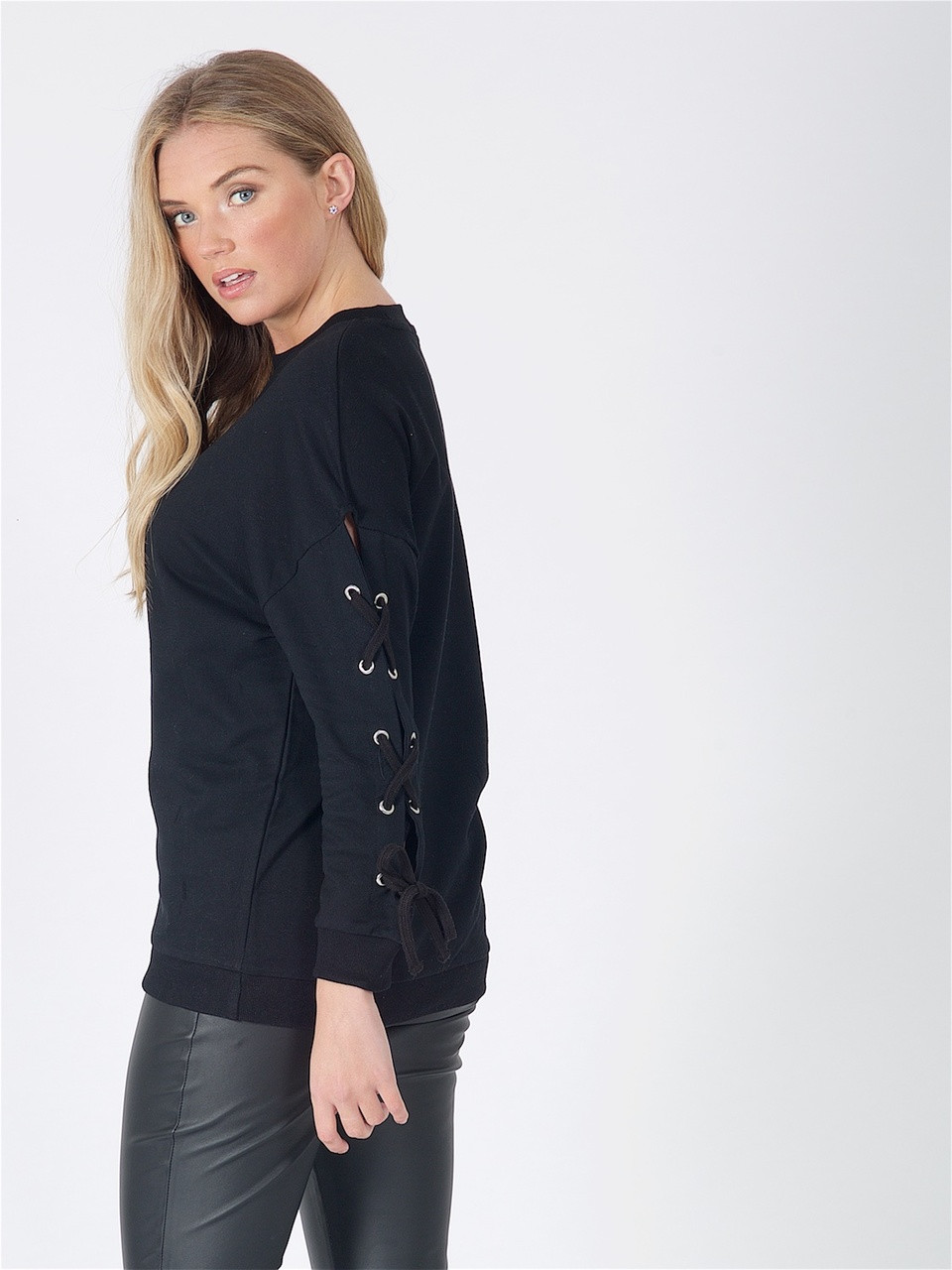 Black Lace Up Sleeve Sweat