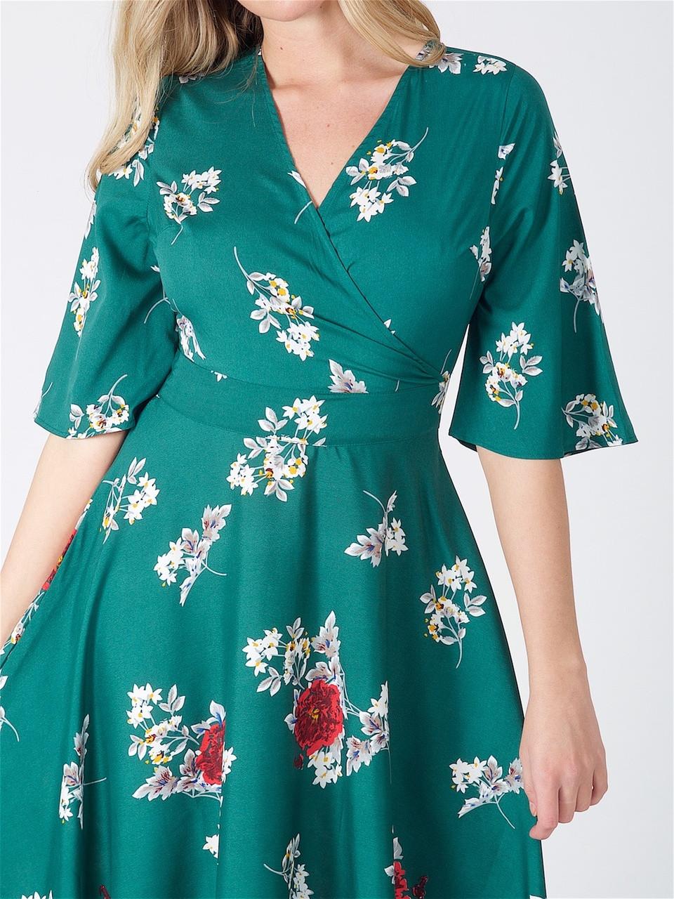 Green Floral Wrap Over Asymmetric Maxi Dress