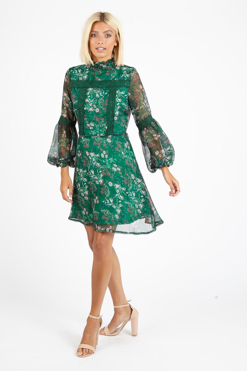 Green Floral High Ruffle Neck Mini Dress