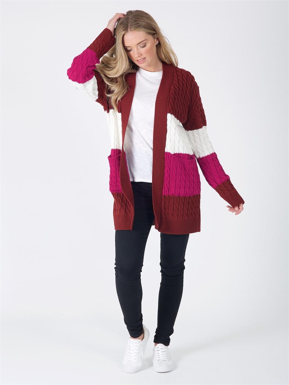 Wine Cream Fucshia Oversized Chunky Knitted Cardigan