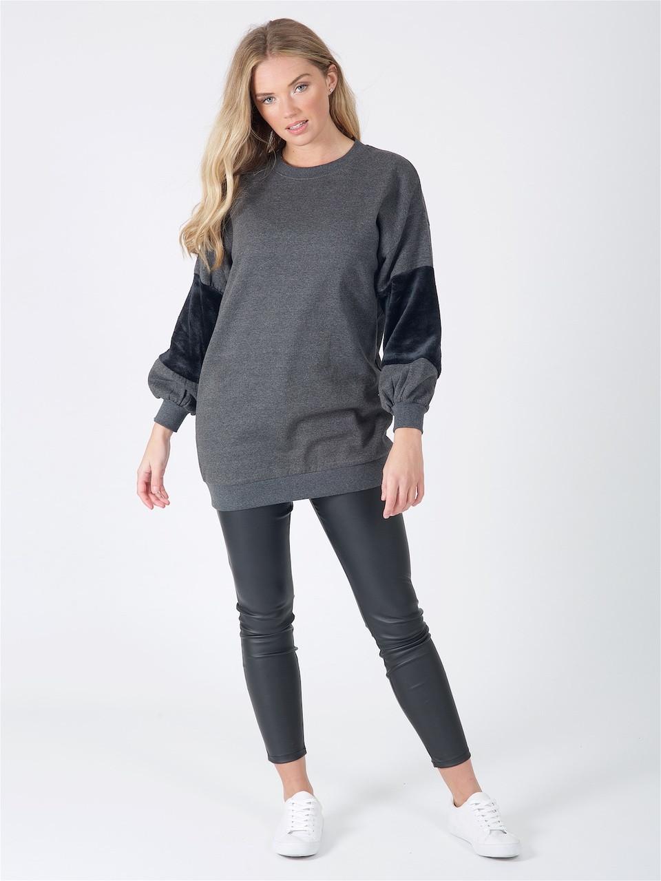 Charcoal Oversized Fur Sleeve Jumper