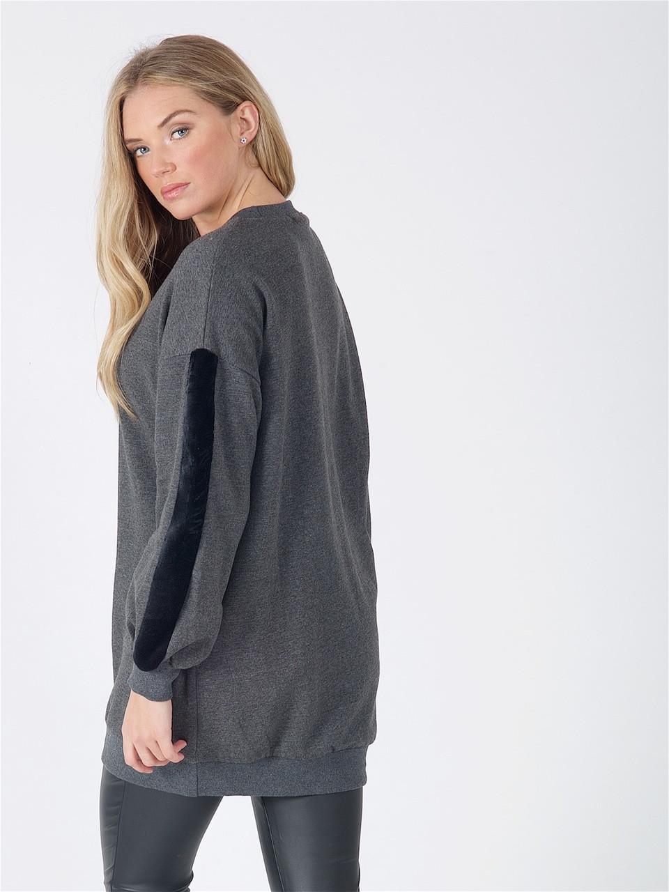 Charcoal Oversized Fur Stripe Sleeve Jumper