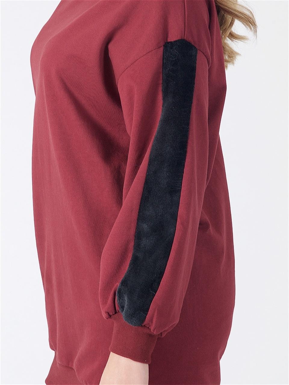 Wine Oversized Fur Stripe Sleeve Jumper