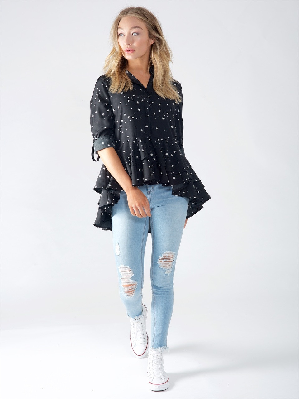 Black Star print Ruffle Shirt
