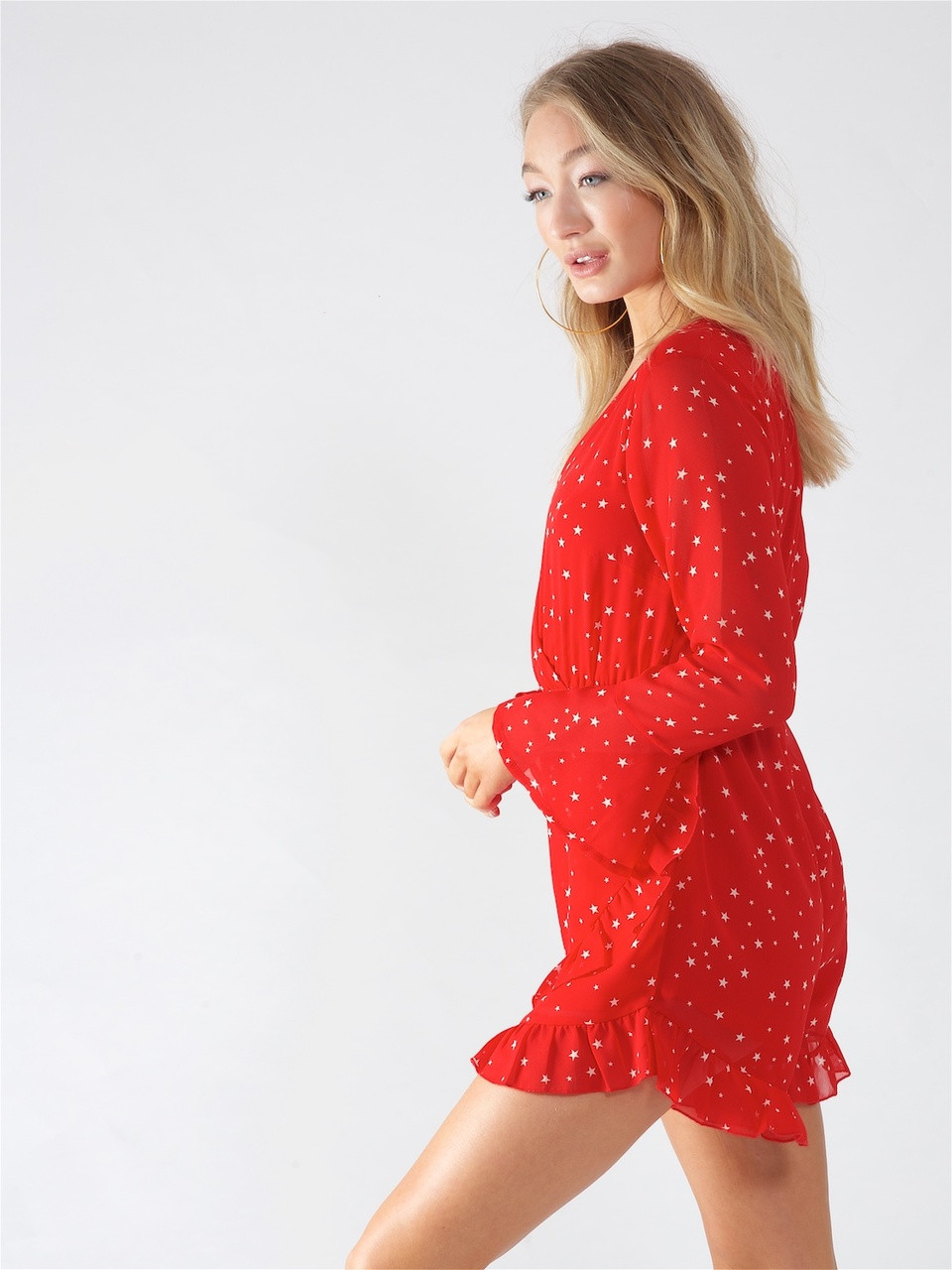 Red Star Print Ruffle Playsuit