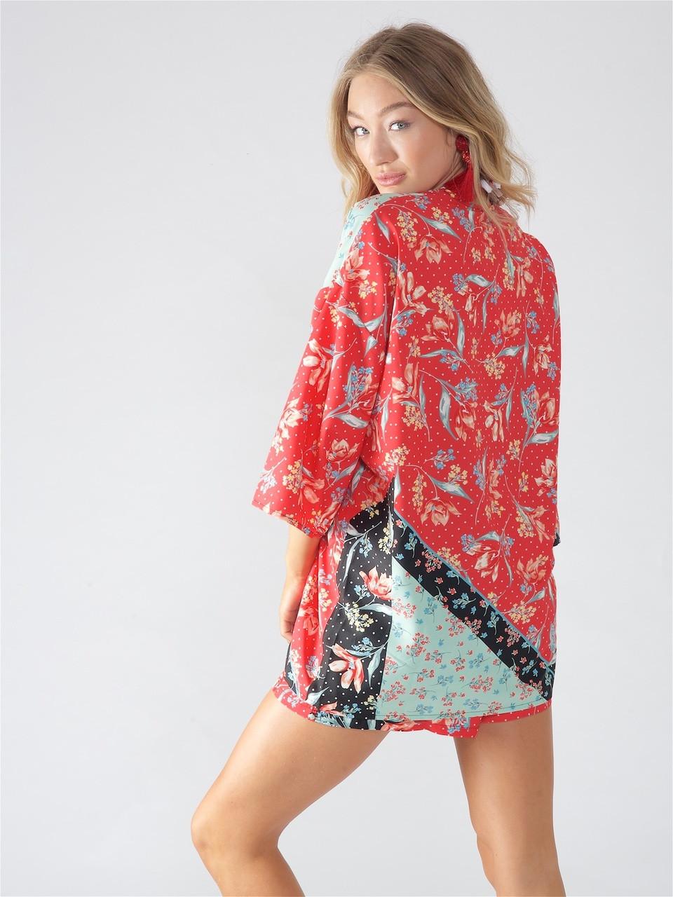 Multi Floral Patchwork Print Kimono