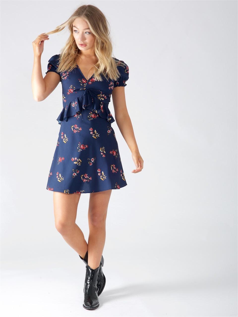 Navy Floral Peplum Mini Dress