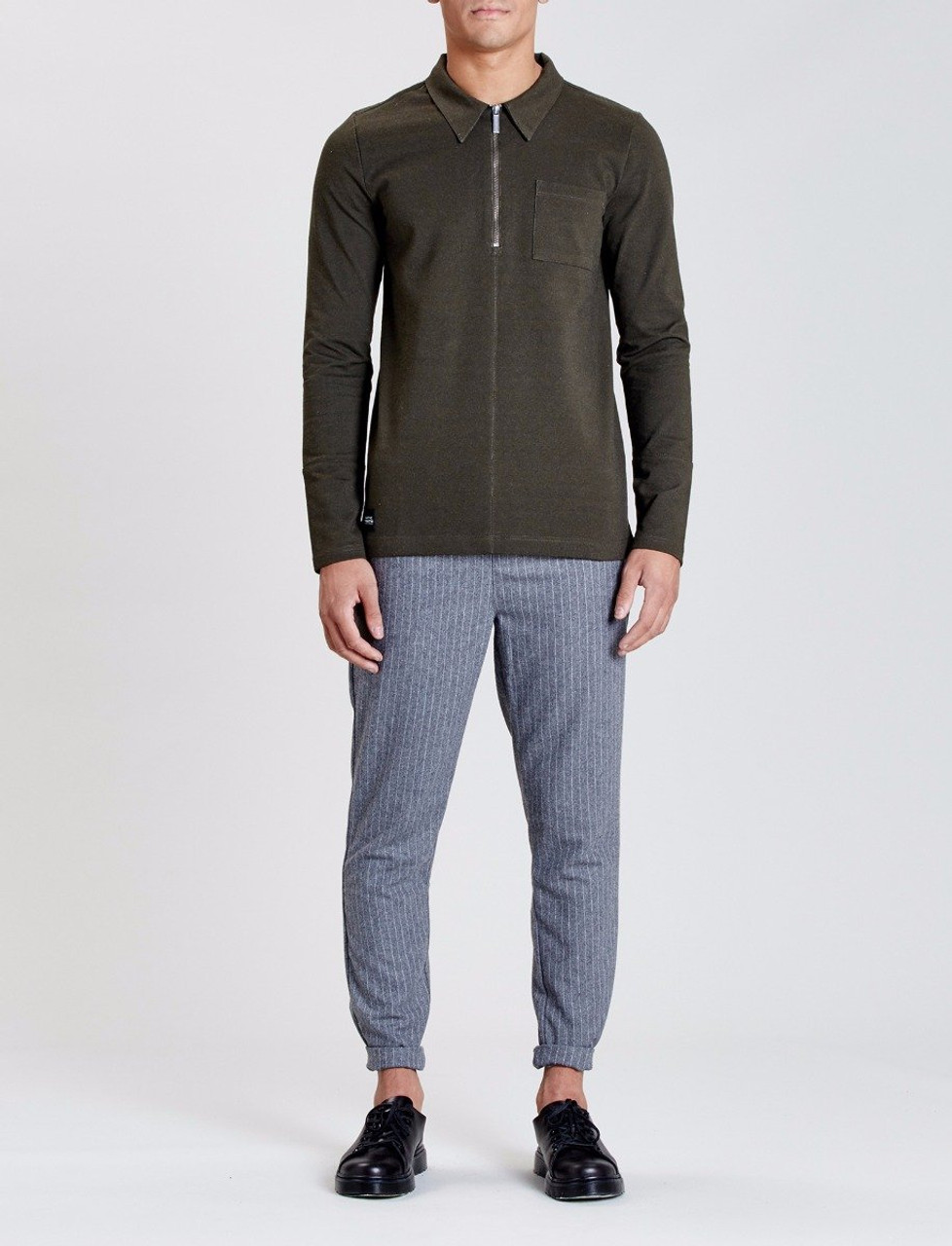 Olive Halidon Long Sleeve 1/2 Zip Polo Sweat With Seam Detail