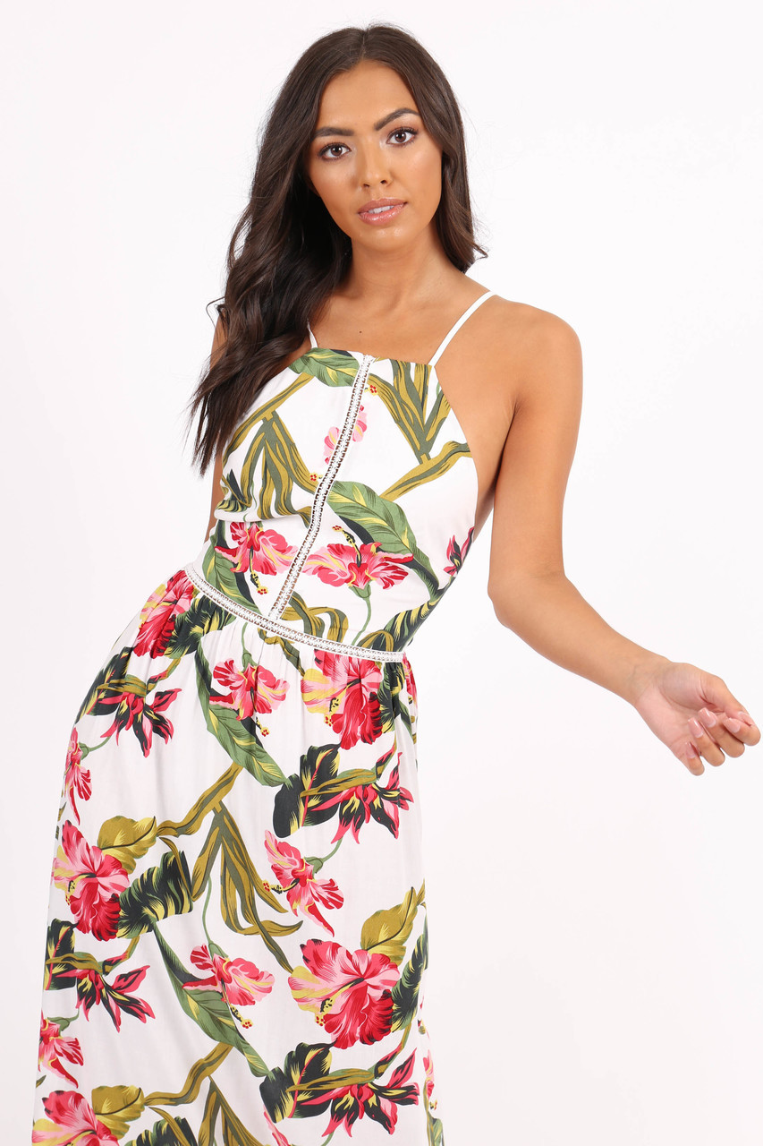 White Floral Lace-up Back Maxi Dress