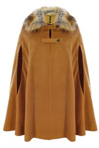 Tan Wool Cape With Fur Collar