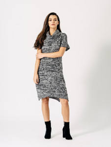 Grey Black Speckled Space Dye Marl Roll Neck Short Sleeve Knit Dress