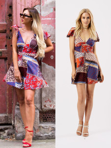 Burnt Red Printed V Neck Tea Dress