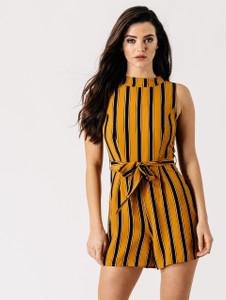 Mustard Stripe High Neck Belted Playsuit