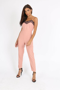 Pink Fitted Waist Jumpsuit