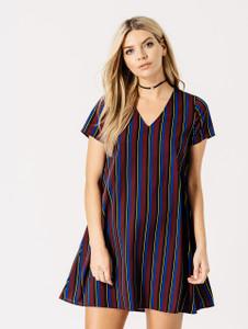 Burgundy & Blue Stripe V Neck Swing Dress