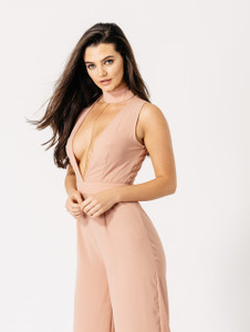 Pink Crepe Choker Jumpsuit With Gold Chain Detail