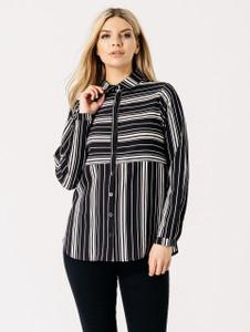 Monochrome Stripe Print Button Front Shirt