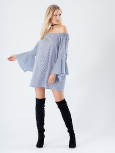 Bardot Stripe Print Flute Sleeve Dress