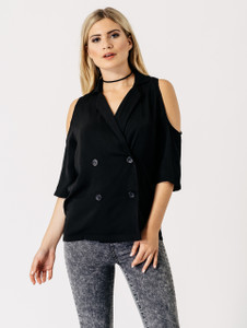 Double Breasted Cold Shoulder Blazer in Black