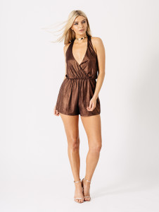 Plunge Halterneck Wrap Playsuit in Bronze