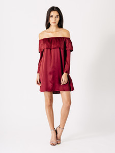 Wine Satin Bardot Frill Dress