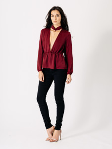 Wine Chain Detail V Plunge Neck Top