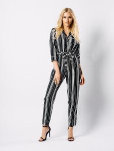 Monochrome Stripe PJ Style Jumpsuit