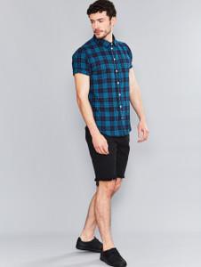 Teal Short Sleeve Check Shirt