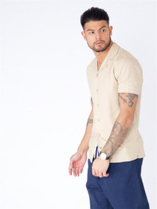 Stone Cuban Collar Short Sleeve Shirt