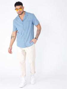 Blue Cuban Collar Short Sleeve Shirt
