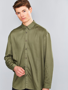 Khaki Oversized Long Sleeve Shirt