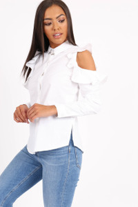 White Cold Shoulder Ruffle Blouse
