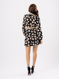 Black Floral Print Crepe Flippy Mini Skirt