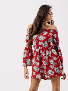 Red Floral Bardot Playsuit