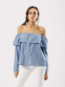 Bardot Stripe Overlay Shirt Style Top