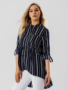 Polycrepe Blue Stripe Print Dip Hem Shirt