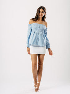 Blue Shirred Bardot Button Front Top