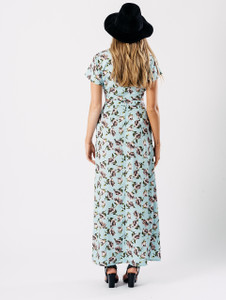 Blue Floral Print Maxi Double Split Skirt