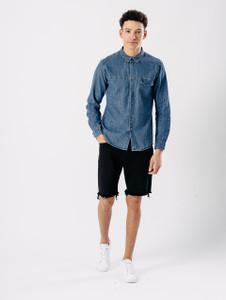 Mid Blue Denim Pocket Shirt