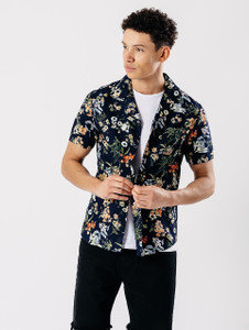 Navy Short Sleeve Revere Collar Shirt