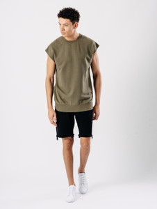 Khaki Sleeveless Sweat Top