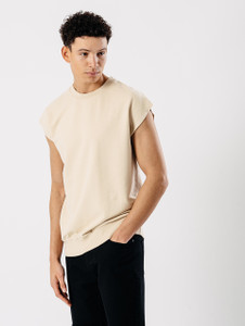 Stone Sleeveless Sweat Top