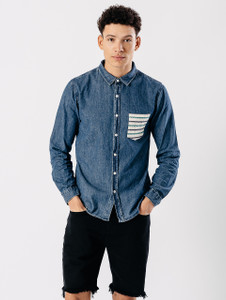 Blue Denim Contrast Pocket Shirt
