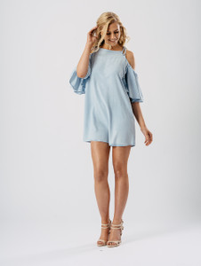 Blue Chambray Cold Shoulder Flare Sleeve Dress