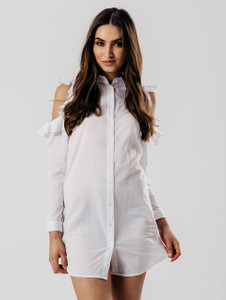 White Cold Shoulder Frill Detail Shirt Dress