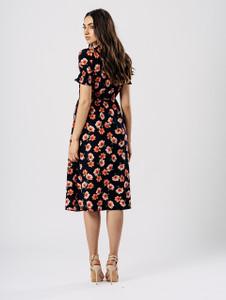 Navy Floral Chiffon Midi Dress